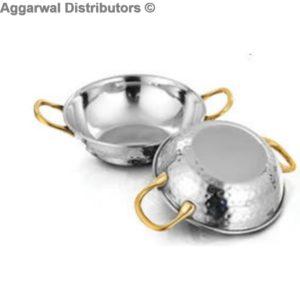 De Stellar Serving Karahi Brass Handle - Double Wall-Hammer