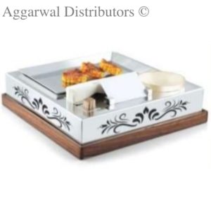 SS Square Snack Warmer set with Wooden Base