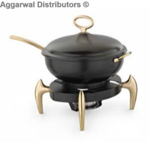 Anthem-MEC 65 BB Wok Style Chafing Dish, Black With Brass Legs And Handles (40.5 x 40.5 x 48 cm)-9.5ltr