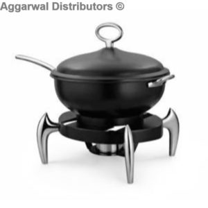 Anthem-MEC 66 BC Wok Style Chafing Dish, Black With Chrome Legs And Handles (40.5 x 40.5 x 46 cm)-5ltr