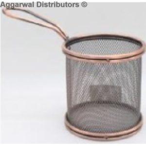 Fryer Basket Round 9by9 Antique Copper-AB-RB01