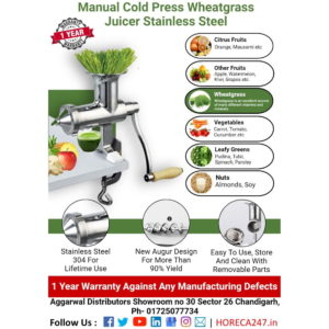 Manual Cold Press Wheatgrass Juicer Stainless Steel