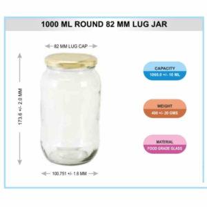 1000 ML ROUND 82 MM LUG JAR
