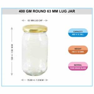 400 GM ROUND 63 MM LUG JAR