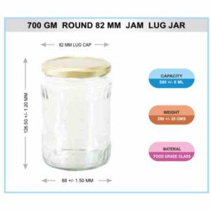700 Gm Round 82mm Jam Lug Jar