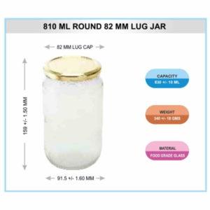 810 ML ROUND 82 MM LUG JAR